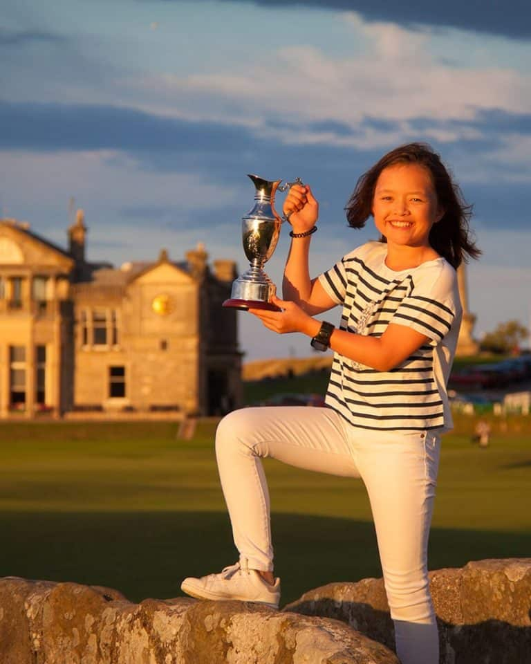 Young girl on the Old Course